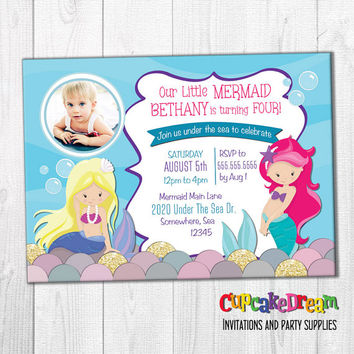 Mermaid Invitation, Under The Sea, Mermaid Birthday