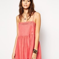 ASOS Broderie Square Neck Frill Beach Dress