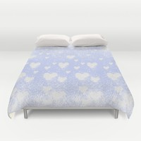 snowing hearts Duvet Cover by Bunny Noir