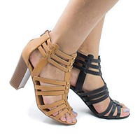 Action By Delicious, Open Toe High Heel Studded Huarache Sandal w Stacked Block Heel