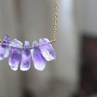 Amethyst  Raw Crystal Point Quartz gold Long Necklace, simple, natural, gem, rose crystal unique eco friendly