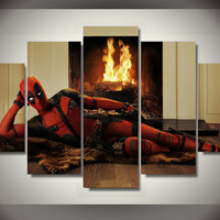 DeadPool - Fireplace 5 Piece Canvas LIMITED EDITION