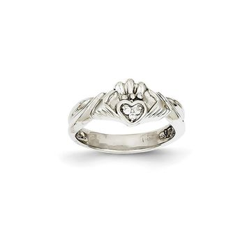 14k White Gold (H/I1 Quality) Diamond Claddagh Ring