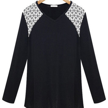 Black Printed Accent Long Sleeve V-neck T-shirt
