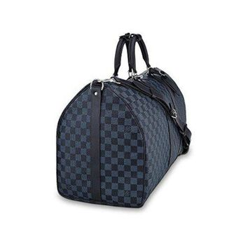 Keepall Bandouliere Style Damier Grey 55 Cm Canvas Crossbody Handle Bag