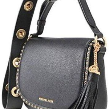 DCCKUG3 Michael Kors Brooklyn Medium Saddle Bag in Black
