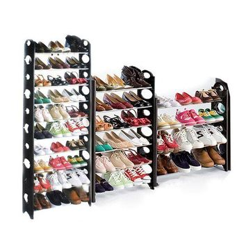 Adjustable Tiers Round-Shaped Shoe Tower Rack Organizer Space Saving Shoe Rack Black