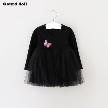 Baby Girls Dress Cute Butterfl Infant Party Dress For Toddler Girl 1 Year Brithday Baptism Clothes Double Formal Tutu Dresses