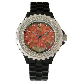 Orange Rhododendrons Floral Wrist Watch