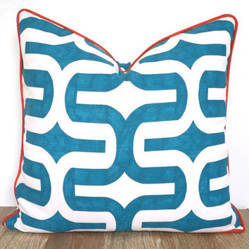 Turquoise and orange pillow cover coastal living, aqua couch cushion, geometric pillow case beach house decor, trellis throw pillow piping