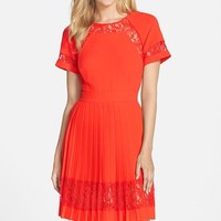 Women's French Connection 'Arrow' Pleated Lace A-Line Dress,