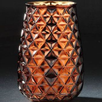 "Glass Floral Vase with Geometric Pattern in Gold Copper - 8"" Tall x 5"" Wide"