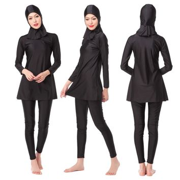 Full Coverage Modest Muslim Swimwear Three Pieces Islamic Swimsuit For Women Arab Beach Wear Girl's Hijab Bathing Clothing 3 pcs