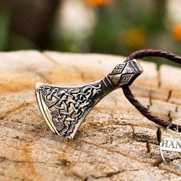 Viking Axe Pendant Viking Amulet Bronze Necklace Scandinavian Norse Jewelry (Mammen Stylization)