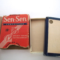 Vintage Sen Sen Confection Box Empty From the 1940s-50s  Measures 1 &  7/8 Inches  X 1.5 inches  X 1/4 inch Some Wear