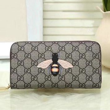 DCCK GUCCI Woman Men Fashion Bee Clutch Bag Leather Purse Wallet2
