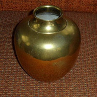 Vintage Brass Bulbous Table Vase Made in India/Chunky Brass Flower Vase Made in India/Vintage Brass Vase/Fat Brass Table Vase