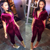 Wine Red Deep V-Neck Jumpsuit