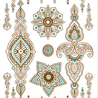 Tattoos MANDALA HENNA / Sets golden temporary tattoos