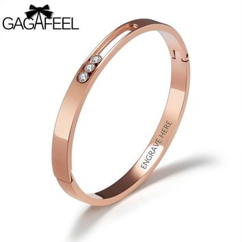 GAGAFEEL DIY Logo Bracelets For Women Stainless Steel Cuff Bangles Handwritter Laser Engrave Letter Bangle Jewelry 2 Colors