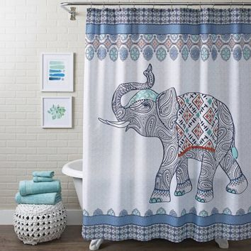 Better Homes and Gardens Global Elephant Shower Curtain, Multiple Colors - Walmart.com