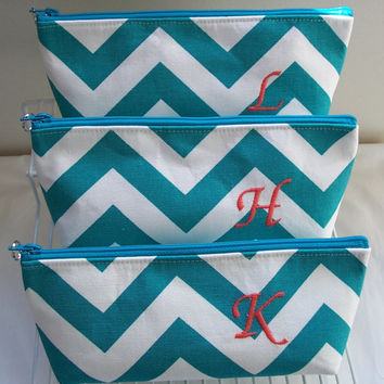 Chevron Monogram Waterproof Lining Zippered Cosmetic Make Up Bag/Pouch/Accessory/Gadget Case/Beach Pool/Bridesmaid Gift