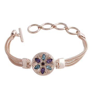 "Snap Charm Rose Gold Plated Bracelet Standard 20mm 3/4"" Diameter Dragonfly Snap Fits Ginger Snaps"