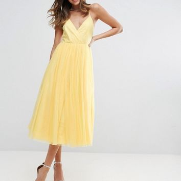 ASOS Pinny Extreme Tulle Mesh Midi Dress at asos.com