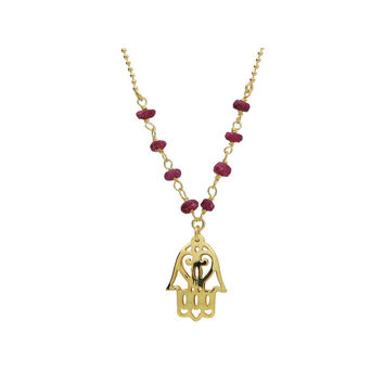 """Silver Gold Plated 16""""+ 2"""" Necklace Ruby Beads and Hamsa Hand Pendant"""