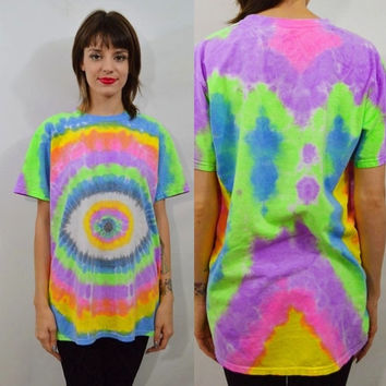 Eye Ball Shirt Tie Dye Mens MED Hippie Psychedelic Seapunk Neon Handmade Clothing Unisex Bright Colorful Rainbow pastel neons