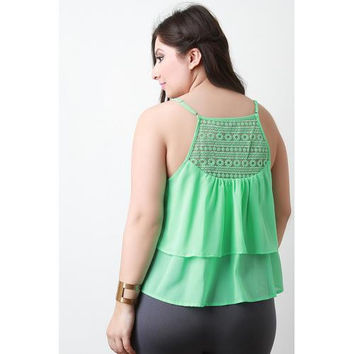 Embroider Double Tier Sleeveless Top