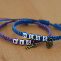 Couples Bracelets Set, Hers and Hers Bracelets, Gay Lesbian Bracelets, Anniversary Gift, Personalized Birthday Gift