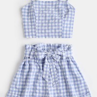 Plaid Cami Top and Belted Shorts Set