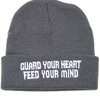 The Charcoal GUARD YOUR HEART FEED YOUR MIND Beanie in Grey