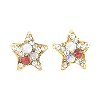 Crystal Star Stud Earrings Gold Tone Aurora Borealis EI42 Fashion Jewelry