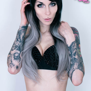 Obsidian Snowflake - Ombré Black / Silver Full Wig
