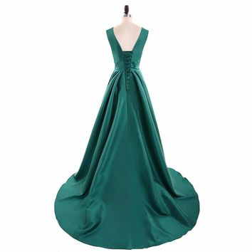 Satin Sleeveless A Line V Neck Long Prom Dresses Green Lace Up Floor Length Beading Prom Dress