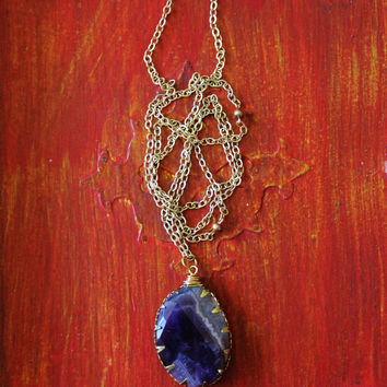 Purple stone necklace, amethyst pendant on gold chain