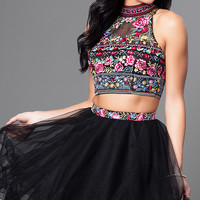High Neck Two Piece Embroidered Bodice Dress