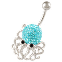 Girls Aquatic Charm Octopus Non-Dangle Aquamarine Crystal Belly Button Ring [Gauge: 14G - 1.6mm / Length: 10mm] 316L Steel Casting & Crystal