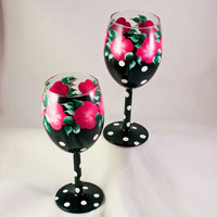 Pink and Black Polka Dot  Hand Painted Wine Glasses