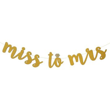 MISS TO MRS Banner, Gold Glitter Banner, bachelorette banner,engagement party decor,bridal shower decor New Arrival