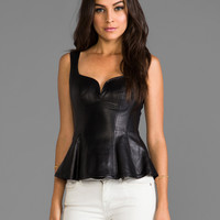 Nanette Lepore Tender Leather Top in Black