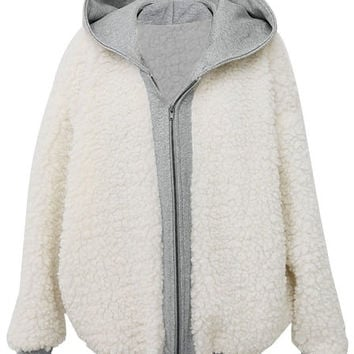 White Hooded Faux Wool Jacket