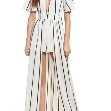Socialite Walk Through Stripe Overlay Romper | Nordstrom