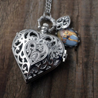 Silver or Bronze Heart Pocket Watch Necklace Customized with Photo and Charm