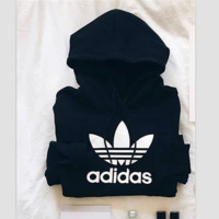 "Fashion ""Adidas"" Print Hooded Pullover Tops Sweater Sweatshirts Pink Black"