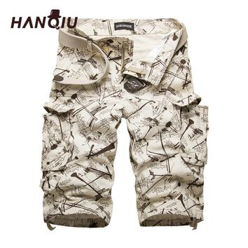 HANQIU Cotton Mens Cargo Shorts Camouflage Male Shorts Multi-Pocket Casual Camo Outdoors Tolling Homme Short Pants