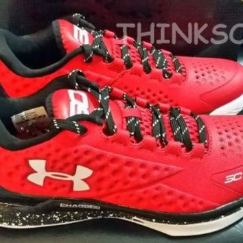 UNDER ARMOUR TEAM STEPHEN CURRY ONE 1 LOW PE RED GOLDEN STATE WARRIORS MVP