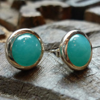 Simple sterling silver earrings with round amazonite by Ellishshop